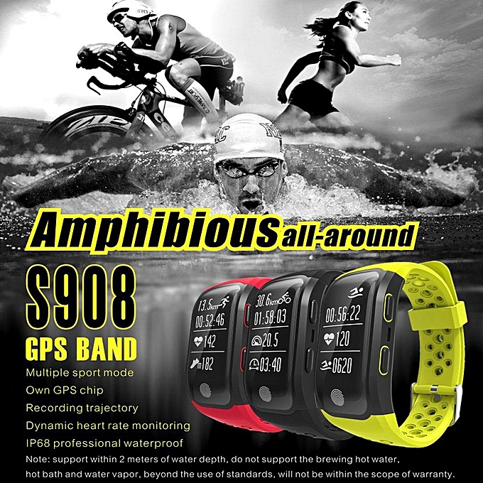 S908 Wristband Heart Rate Monitor Smart Watch GPS Trajectory Tracker  Outdoor Sports Waterproof For Android And IOS Phone (Green) WANKAI