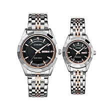 [2 Pack] 80164 Couple Watch Fashion Brand Full Stainless Steel Analog Display Date Men Women Quartz Watch Business Wristwatch - Gold