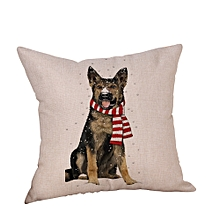 Christmas Dog Linen Cushion Cover Throw Pillow Case Sofa Bed Home Decor
