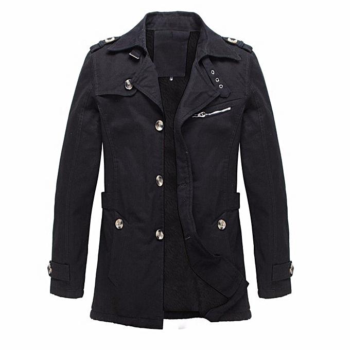 22d476c8263 ... Winter Mens Fleece Coat Warm Thicken Jacket Long Overcoat Slim Casual  Jacket (Green) ...