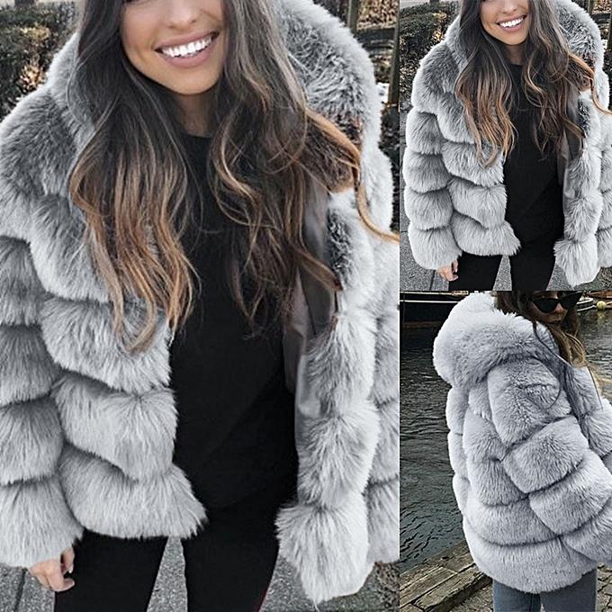 d74570d4737 Women Faux Mink Winter Hooded 2019 Faux Fur Jacket Warm Thick Outerwear  Jacket