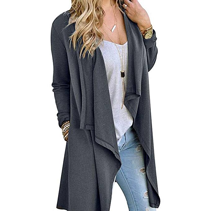 e7b1d7897a45 jiuhap store Women Solid Color Large Size Long Sleeve Cardigan Personality  Jacket GY L-