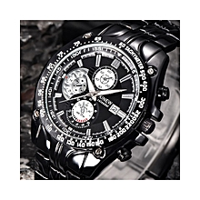 Men's Fashion Military Stainless Steel Analog Date Sport Quartz Wrist Watch-Black