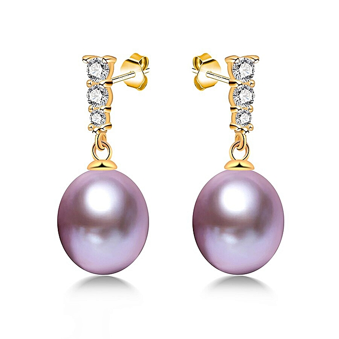 91a04ca27f856 Lowest Price 925 Sterling Silver Drop Earrings Real Natural Freshwater  Pearl Earrings Pure Silver Party Jewelry Lindo(purple pearl)
