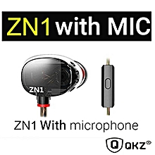 QKZ ZN1 Dual Driver Extra Bass Turbo Wide Sound Field Earphone with Microphone TIANHUShop