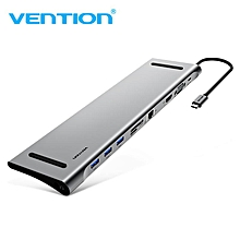Vention All-in-One USB C to HDMI VGA Converter Card Reader USB 3.0 HUB SD/TF Card Reader 3.5mm Jack PD RJ45 Adapter For MacBook USB Jy-M
