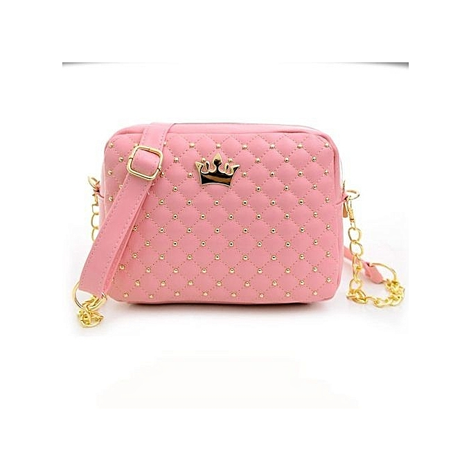 bluerdream-2018 Women Messenger Bags Rivet Chain Shoulder Bag Leather  Crossbody PK-Pink f419f1183d480