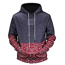 bluerdream-Men's Autumn Winter Printed Long Sleeve Hooded Sweatshirt Tops Blouse L- Black