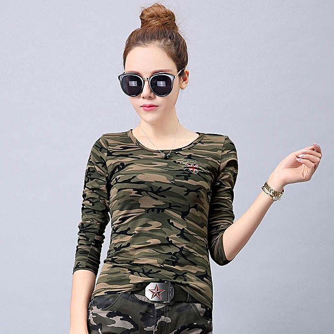 8f15529fa7d Autumn Winter Military T Shirts Large Size Women Camouflage T Shirts Long  Sleeve Outdoor Sport Tops