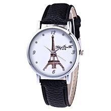 Lady  Leather Wrist Watch Zhoulianfa Fashion Ladies Leisure Artificial Leather Quartz Simulation Watch-Black