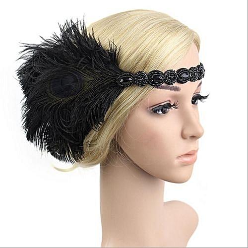 Fashion Retro Feather 1920s Flapper Headpiece Great Gatsby Head Hair Band  Fancy Dress Black a98acf6b007