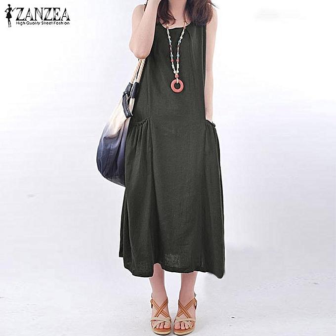 25d5de5992199 ZANZEA ZANZEA Women Sleeveless Long Maxi Sundress Kaftan Flare Plus ...