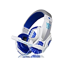 PC780 Casque audio PC Gaming Headphone with Mic Stereo Bass Led Light(Blue White)