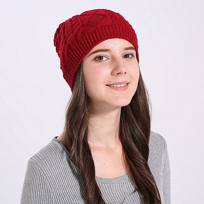 83d3a520f69 ... singedanWomen Baggy Warm Winter Wool Knit Ski Beanie Caps Hat RD -Red