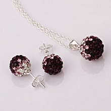 MBox Crystal Shamballa Bling Jewelry Ball Bead Gradients Necklace Earrings Sets - Brown