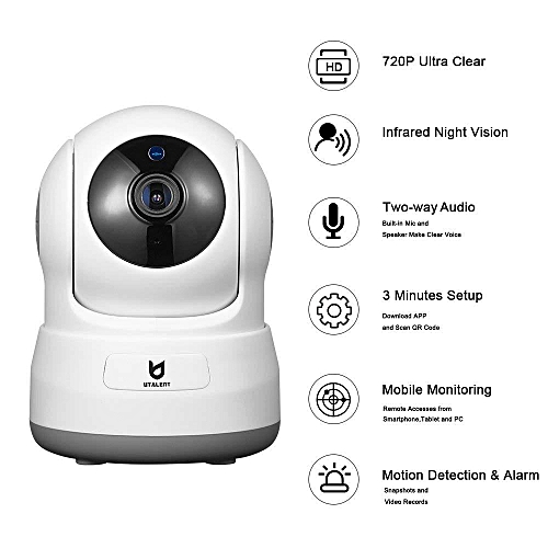 Wireless Security Camera, Utalent 720P HD Indoor WiFi Home Surveillance IP  Camera