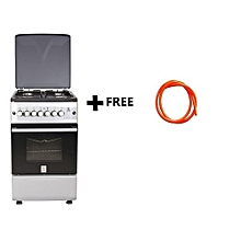Free Standing Cooker, 4 Gas Burners, Electric Oven MST55PI4GSL/HC, 50 X 55, Plus Free 1.5m Gas Pipe - Silver and Black