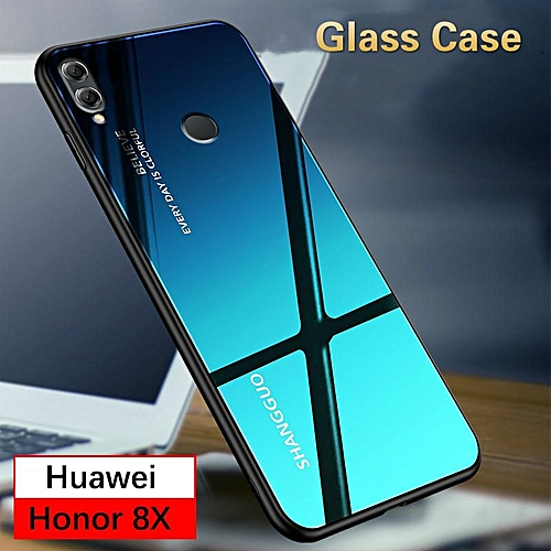 brand new a7721 b1276 Aurora Glass Case Honor 8X Glass Case Full Cover Tempered Glass Back Cover  Casing For Huawei Honor 8X Case Housing 296274 (Aurora Blue)