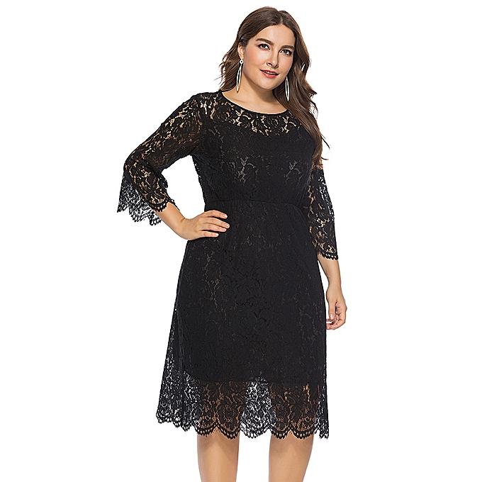 Women Vintage Plus Size Dress Lace O-Neck Three Quarter Sleeve Hollow Out  Elegant Party 64a0c624f664