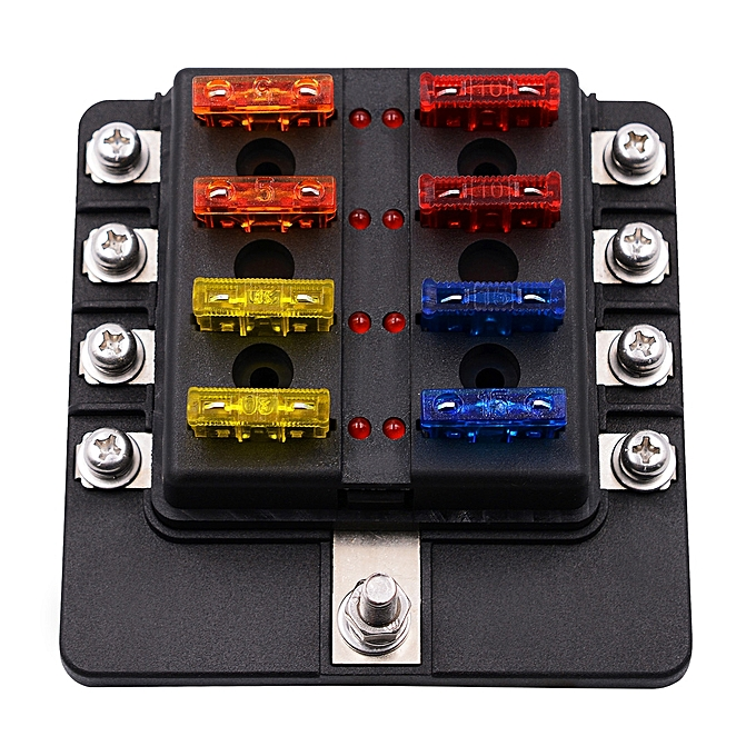 1 in 8 out fuse box screw terminal section fuse holder kits with led  warning indicator