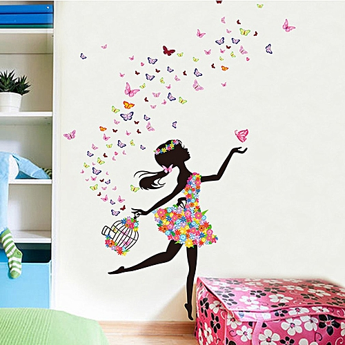 kokobuy home bedroom wall sticker removable pvc flower girls wall