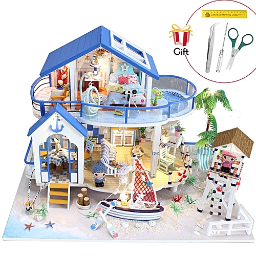 Generic Diy Wooden Doll House Miniature Kits Led Furniture House