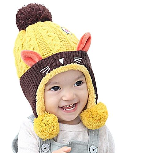 75fcd92900d ... buy generic jiuhap store kid baby dual balls girl boy knitting wool  keep warm beanie cap