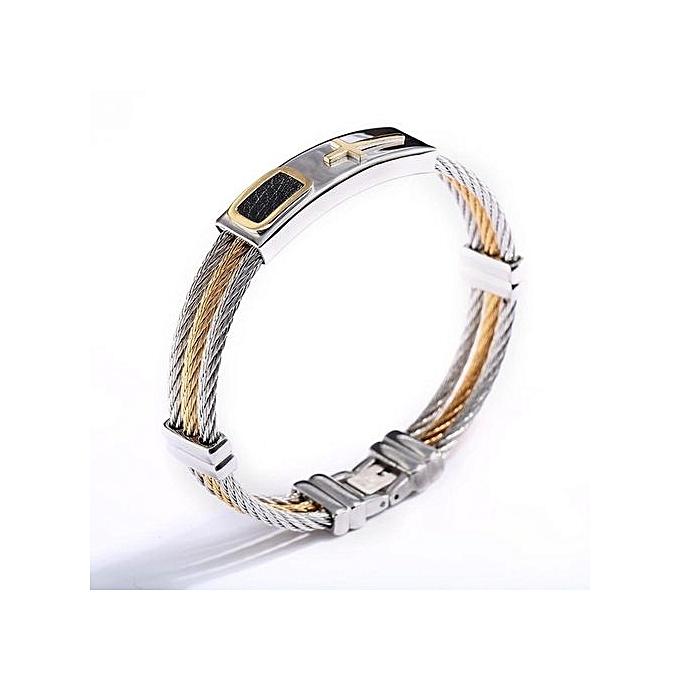 Men 3 Row Wire Chain Bracelet Stainless Steel Cross Best Gift