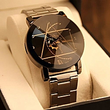 Fashion Watch Stainless Steel Man Quartz Analog Wrist Watch BK