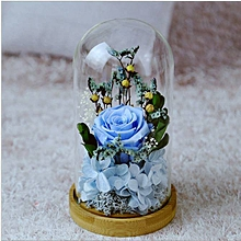 Glass Covered Small Blue Rose Preserved