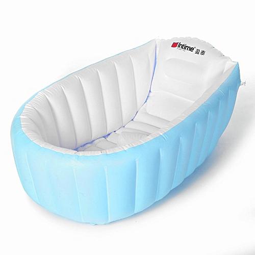 Portable Inflatable Bathtub For Babies Kid Baby Bath Thickening Folding Washbowl Blue