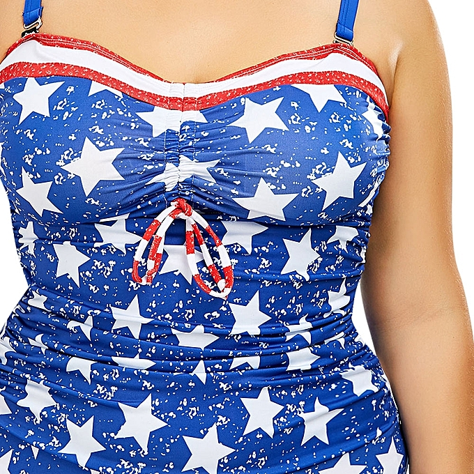25b1287447aa2 ... Fashion Leadsmart Patriotic American Flag Print Plus Size Blouson  Tankini ...