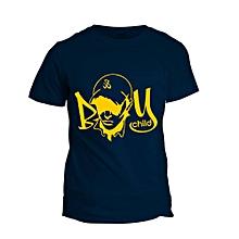 Boy Child Navy Blue Printed T-Shirt Design