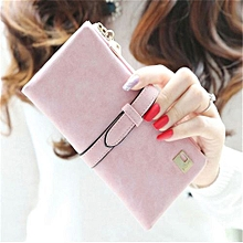 Rushed Lady Bag Women Wallets Purse Matte Drawstring Nubuck Handbags Leather Zipper Long Two Fold Clutch Card Holder Pink