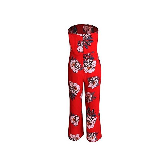 0f8e308040 bluerdream-Women Off Shoulder Floral Party Playsuit Ladies Long Jumpsuit  Romper Trousers L-Red