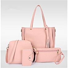 4Pcs/Set Women Faux Leather Handbag Shoulder Bag Tote Purse Messenger Clutch - Pink.,