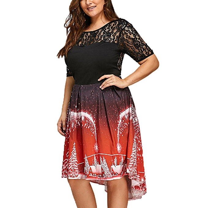 bd19837feb9ba Womens Sexy Plus Size Christmas Dress V-Neck Backless Dress Ladies Casual  Dress