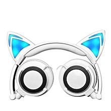 Foldable Flashing Glowing Cat Ear Headphones Wired Video Gaming Headset Hifi Stereo Mp3 Music Player Walkman Earphone White