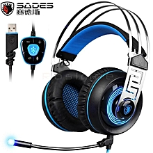 SADES A7 7.1 Surround Sound Gaming Wired Headset USB Luminous Headphone with Microphone