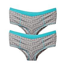 2 Set of Grey,Green and White Kiss Me Women's Boxer Pantie