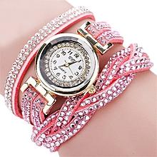 guoaivo  CCQ Women Fashion Casual Analog Quartz Women Rhinestone Watch Bracelet Watch PK -Pink