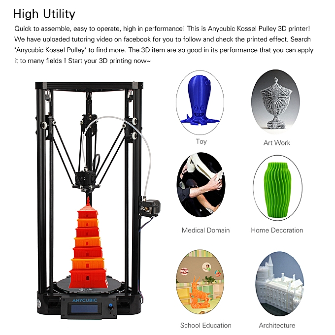 Anycubic Kossel Pulley Delta FDM Metal 3D Printer DIY Kit Support Auto  Leveling Large Printing Size 180 * 320mm Fast Speed High Accuracy LCD  Display
