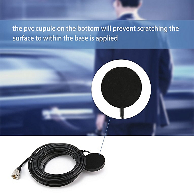 5M Feeder Cable Two Way Radio Magnetic Antenna Base SMA-Female A Car sucker  Black
