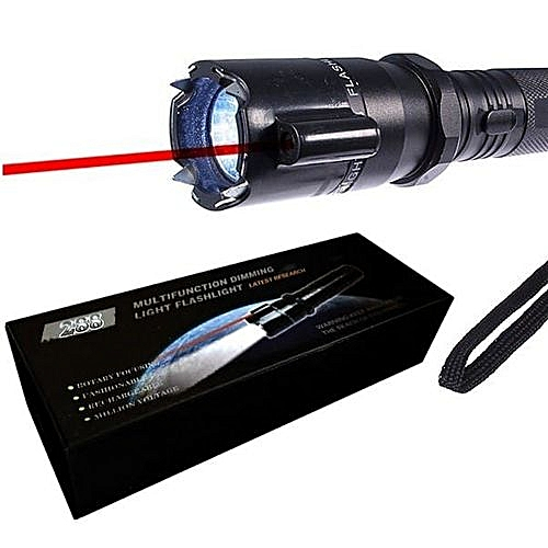 Self-Defense Torch With Electric Shock and leaser pointer- Black