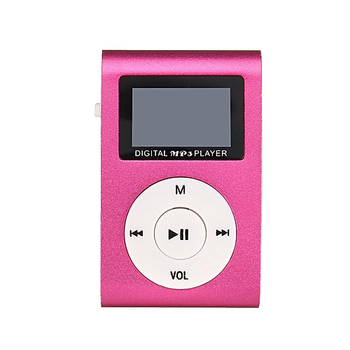Generic Mini Mental USB Music Clip MP3 Player LCD Screen Support 32GB Micro SD TF Card Pink