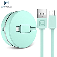 Circular Cover Stretchable Micro USB Data Charging Cable 1M - Green