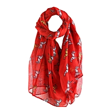 Africanmall store Women Animal Printed Long Scarf Warm Wrap Shawl RD- Red