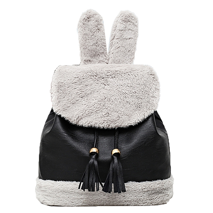 Women Hairy Backpacks School Bag Student Plush Backpack Girls Cute  Backpacks -Black