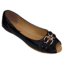 Women PU Leather Flat Shoes -  Black