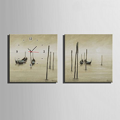 Generic decorative mural wall clock framed boats pattern for Clock wall mural